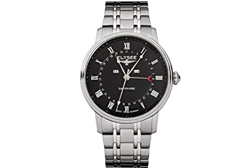 Armbanduhr-Herren Momentum Calendar von Elysee | Herrenuhr mit Monat, Datum / Wochentag Anzeige | Perfekt als Geschenk-Idee | Qualitätsuhr Made in Germany (silber / schwarz)
