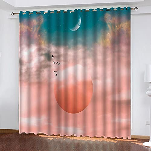 ASNIVI Cortinas Cortas para Ventanas Rosa Luna Nubes Creatividad. 335 X 229 cm 3D Digital Impresión Cortina Aislante Cortina Opaca para Dormotorio Habitacion Sala Salon Decór Ventana con Ojales