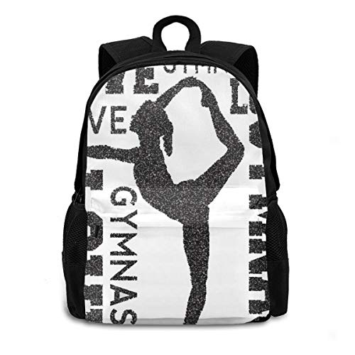 School Backpack,Love Gymnastics Computer Backpacks Travel Hiking Camping Daypack For Youth