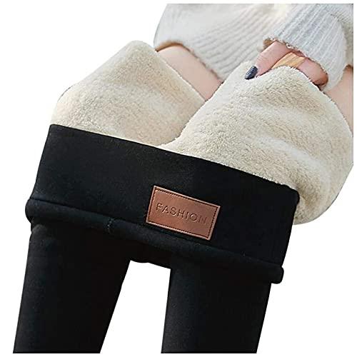 joyvio Mujer Leggings de Cintura Alta Térmico Leggings Pantalones Winter Thick Warm Fleece Lined Pantalones Deportivos Elásticos (Color : Black, Size : 3XL)