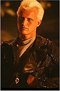Rutger Hauer (8 inch by 10 inch) PHOTOGRAPH from Slide Negative Blade Runner Ladyhawke Batman Begins Hands in Black Leather Jacket Pockets Over Grey Shirt from Waist Up kn