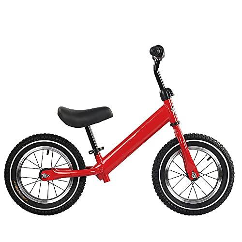 NAINAIWANG Bicicleta Equilibrio para niños sin Pedales para 2-5 años Empuje de pequeños con neumático Goma inflado 12'Altura Ajustable Marco Ligero para niños Bicicleta planeadora para niños