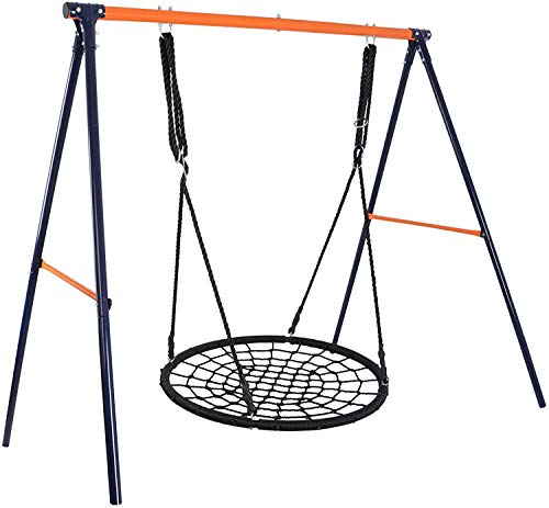 ZENY 48 Inch Web Swing Set Spider Nest Tree Swing and Heavy Duty A Frame Swing Stand Kids Play Swing Set for Outdoor Backyard...