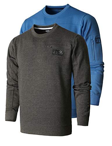 FULL TIME SPORTS® Tech Herren Rundhals Langarm Casual Top Fleece Sweatshirt 2 Pack (HELLBLAU & Kohle, 3XL)