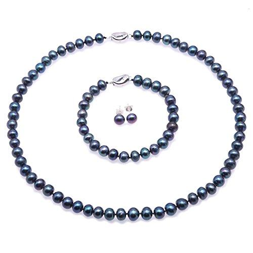 JYX Perlenkette Set Perle Set- Exquisite 7.5-8.5mm Schwarz Flache Runde Süßwasserperlenkette, Armband, Ohrstecker Set