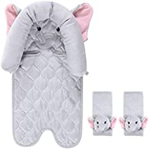 Hudson Baby Unisex Baby Car Seat Insert and Strap Covers, Pretty Elephant, One Size