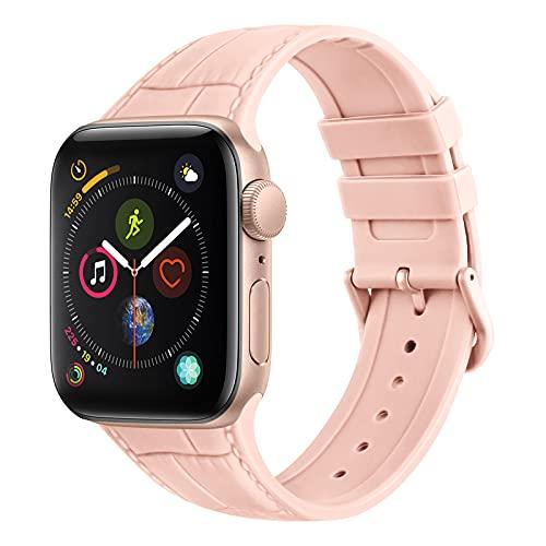 Amzpas Cinturino Compatibile per Apple Watch 44mm 42mm 38mm 40mm, Cinturino in Silicone con Trama in Pelle per iWatch Series 6,Series 5,Series 4,Series 3,Series 2,Series 1,SE