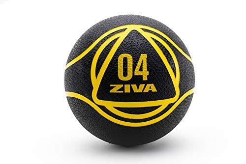 ZIVA Essentials Balon Medicinal Pilates, Adultos Unisex, Negro/Amarillo, 4 Kg