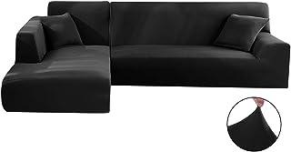 Comficent Funda Cubre Sofá Chaise Longue, Protector para Sofás Acolchado Brazo Izquierdo o Derecho. Tamaño -300 cm. (Negro, 190_x_230_cm-3 Plazas)