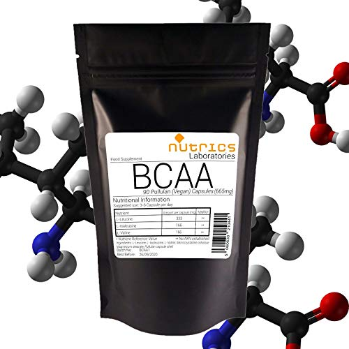 Nutrics BCAA 665mg Branched Chain Amino Acids |90 Capsules (1 Month Supply) | Made in The UK by Nutrics Laboratories | Suitable for Vegan Vegetarian Halal Kosher