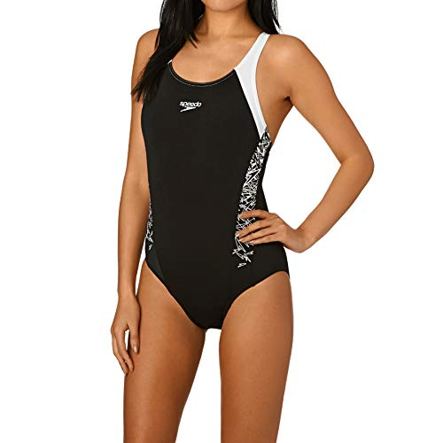 Speedo Damen Boom Splice Muscle Back-108213503 Badeanzug, Mehrfarbig (Black/White), DE 36
