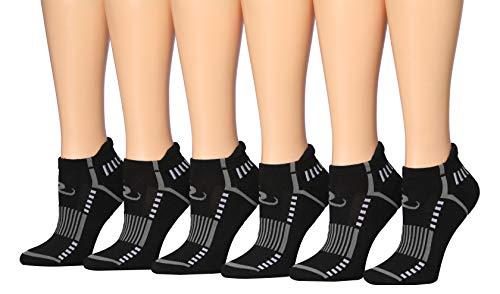 Ronnox 6 pares de pestañas de corte bajo para correr y rendimiento atlético para mujer, Diseño deportivo, color negro., Shoe Size: 11-13