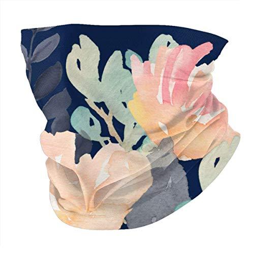 XCNGG Gris Coral y Flores de Menta Fondo Azul Marino Variedad Turbante Textura Suave, a Prueba de Polvo y Viento Variedad Multiusos Pañuelo para la Cabeza