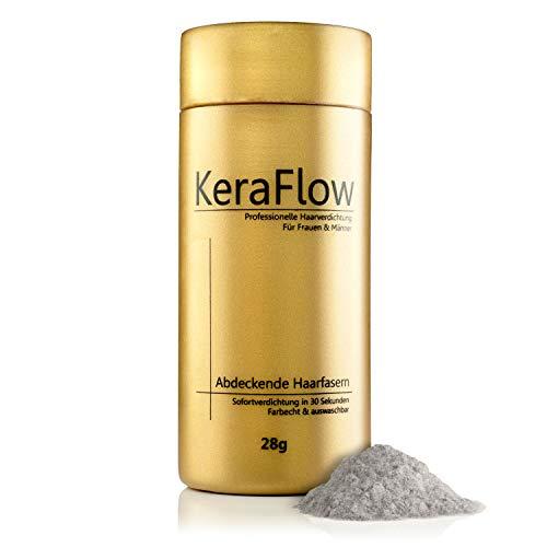 KeraFlow® PREMIUM Streuhaar zur Haarverdichtung - Schütthaar für volles Haar in Sekunden - Hair Fibers zum Kaschieren von lichten Haaren - Haarpulver gegen kahle Stellen - 28g (GRAU)