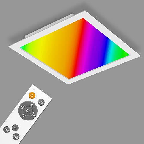 YU YUSING Panel LED de techo, 62 x 62 cm, blanco neutro, RGB/2700K-6500k, lámpara de techo de 40 W, iluminación de techo para salón, cocina, oficina, baño [Clase energética A+]