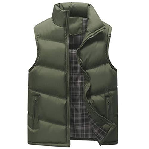 Mâle Vestes sans Manches col Montant Kaki Gilet Gilets Armée Casual Manteaux Solides Army Green L