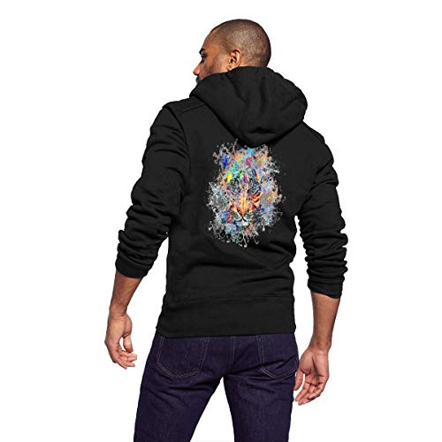D-WOLVES Cozy Men's Zip Up Hoodies Watercolor Tiger Long Sleeve Pockets Sweatshirt Suitable for Running Sports Workout Active Home