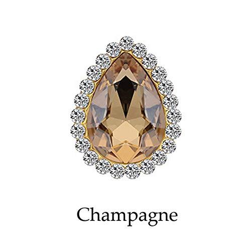 8 x 13 m zonnebloem met strass-steentjes, kristal, vorm in druppelvorm op steen voor het versieren van stof, champagne, gouden bol