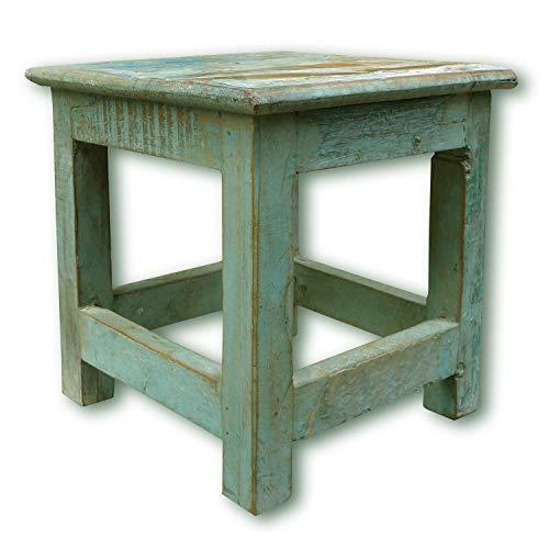 LS-LebenStil Vintage Holz Fuß-Hocker 26cm Shabby Türkis Tritthocker Schemel Fußbank Bänkchen