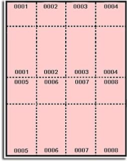 400 Label Outfitters Pink Pre Numbered Raffle and Event Tickets - Laser and Inkjet Printable, 50 Sheets, 8 Numbered Tickets and Stubs per Sheet