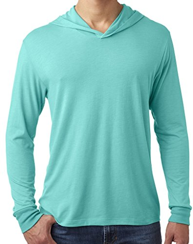 Yoga Clothing For You Mens Triblend Lightweight Hoodie Tee, XL Tahiti Blue