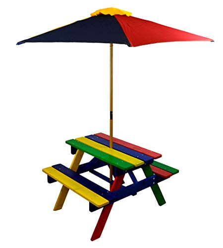 HGC Junior Rainbow Kids Picnic Table Set with Umbrella