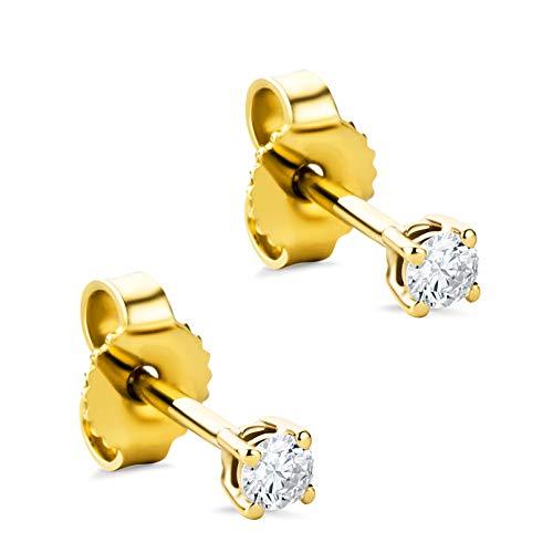 Orovi Damen Ohrringe mit Diamanten Gelbgold Solitär Ohrstecker 14 Karat (585) Gold und Diamant Brillanten 0.12 Ct Ohrring Handgemacht in Italien