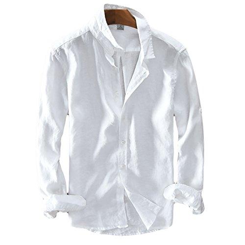 Icegrey Camicia Uomo Camicie di Lino a Maniche Lunghe Camicie da Spiaggia Bianco 56