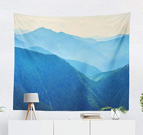 Elinna Wall Hanging Fog Tapestry, Mountains Silhouette Blue Grass Hill Morning Mountain Nature Rock 60 X 60 Inch Home Decorations For Living Room Bedroom Dorm 80x60in(150x200in)