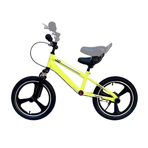 Bicicleta Sin Pedales Niños Grandes / Adolescentes Bicicleta de Equilibrio con Ruedas de 14/16 Pulgadas, Unisex-adulto Bicicleta Grande Sin Pedales con Freno, Asiento Ajustable, Regalo de Cumpleaños