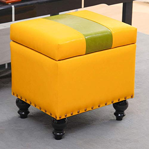 DSDD Cube Faux Leather Storage Ottoman Foot Stool Pouf Bench Seat,toy Box With Hinge Top Organizer Box Pouf Chest