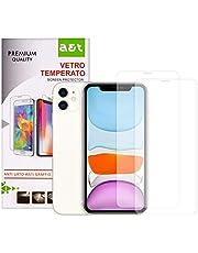 A&T Vetro Temperato per iPhone 11 Antigraffio Protegge Schermo 2 pezzi + 1 Cover Trasparente Antiscivolo