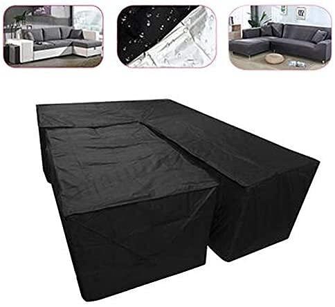 SYGoodBUY 2 fundas impermeables en forma de L y rectangulares para muebles de jardín, resistentes al viento, antirayos UV, para muebles de esquina, sofá, mesa de patio y sillas al aire libre