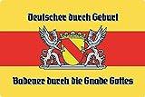 Blechschild 20x30cm gewölbt Baden Badener Flagge Wappen Deko Geschenk Schild