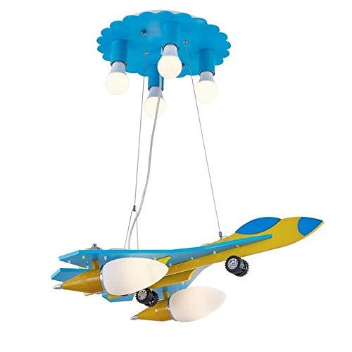 Massoser kroonluchter-vliegtuig hanglampen, kinderkamer jongens slaapkamer kroonluchter plafondlamp oogbescherming cartoon houten lampen