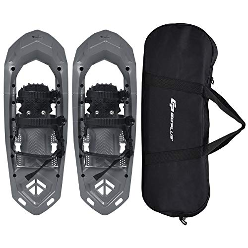 Goplus 25-inch Snowshoes for Men and Women, Lightweight Snowshoes w/Heel Lift, Adjustable Ratchet Bindings, Hard Rack Grip Teeth and Carrying Bag, Anti Slip Snow Shoes for Hiking, Climbing (Gray)