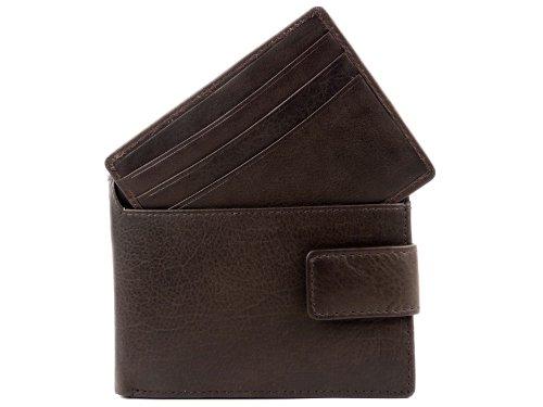 Heren Top Kwaliteit Zwart Bruin Lederen Portemonnee door BLOOMSBURY geleverd in GIFT BOX