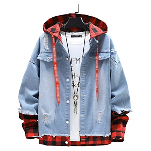 EEKLSJ Spring Autumn Casual Men's Stitching Torn Edge Hooded Slim Men's Single-Breasted Denim Jacket (Color : A, Size : 2XL)