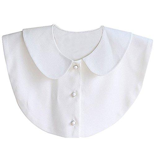 MAKFORT Abnehmbare Kragen Fake Hälfte Bluse für Damen Weiß
