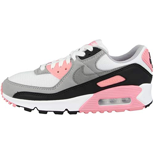 Nike W Air Max 90, Chaussure de Course Femme, White/Particle Grey-Rose-Black, 39 EU