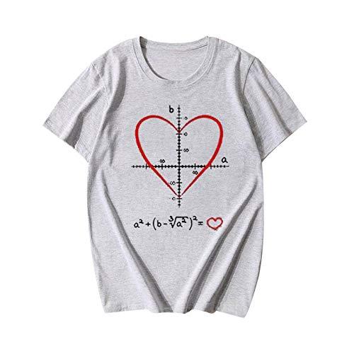 Your New Look Camiseta de manga corta para mujer con estampado de amor y carta gris L