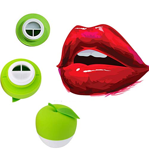 MQUPIN Lip Plumper Device Enhancer Hot Sexy Mouth Beauty Lip Pump Enhancement Pump Device Quick Lip Plumper Enhancer Lip Trainer for Women Gilrs + GEL Mouth Cover (Green (Double-Lobed))