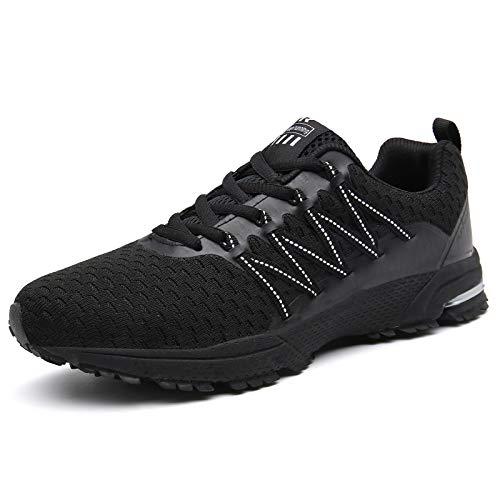 SOLLOMENSI Laufschuhe Damen Herren Sportschuhe Straßenlaufschuhe Sneaker Joggingschuhe Turnschuhe Walkingschuhe, 46 EU, Schwarz1