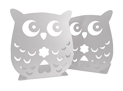 Owl Wonderland Bookends - Cute Lightweight Baby Owls - Great Decor for Little Ones Nursery, Childrens Bedroom, Kids Playroom or Fun Owllover Gift for Office (White)