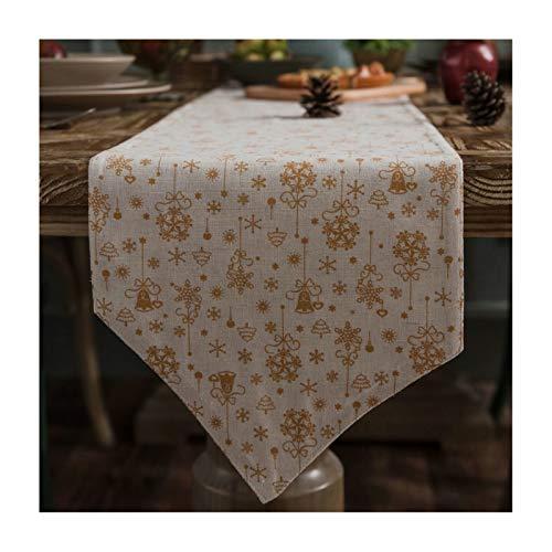ANAZOZ Makeup Table Runner 12 x 55 Inches Cotton Linen Table Runner Christmas Theme Bells White Table Runner for Bedroom