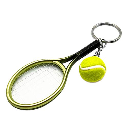 Asdf586io Cute and Charm Keychains, Simulation Mini Tennis Racket Ball Keychain Pendant Bag Key Ring Accessories - Green