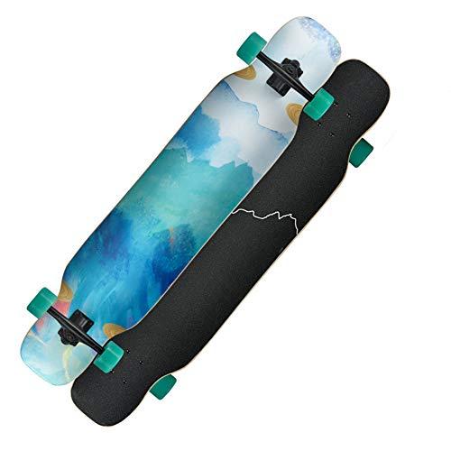ROYWY Longboard Skateboard Drop Through Cruiser Komplettboard mit Mach1 High Speed Kugellager T-Tool mit und ohne LED Rollen/C