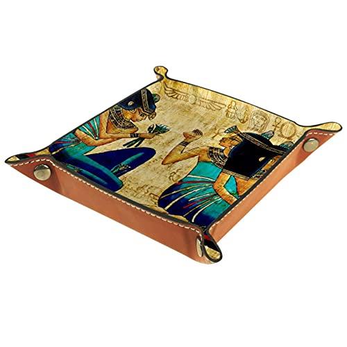Bandeja de Cuero Vintage retro antiguo pergamino egipcio Almacenamiento Bandeja Organizador Bandeja de Almacenamiento Multifunción de Piel para Relojes,Llaves,Teléfono,Monedas