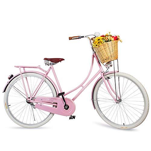 Bicicleta Vintage Retrô Feminina - Ísis - Plus Rosa Quartzo - Kit Marcha Nexus Shimano - 3 Velocidades