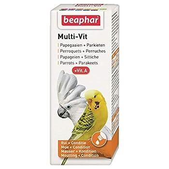 BEAPHAR – Multi-Vit, vitamines pour perruche et perroquet – Contient 12 vitamines – Assure une santé optimale – Apporte vitalité – Accélère la mue – Rend le plumage sain et brillant – 50 ml